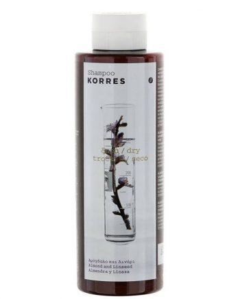 Korres Σαμπουάν  με Αμύγδαλο & Λινάρι για Ξηρά Αφυδατωμένα Μαλλιά 250ml