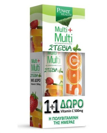 Power-Health-Multi-Multi-Stevia-24-eff-tabs -Vitamin-C-500mg-20-eff-tabs-e-sante.gr